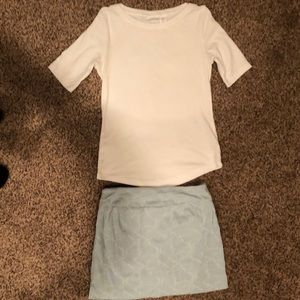 Light denim mini skort with white t-shirt